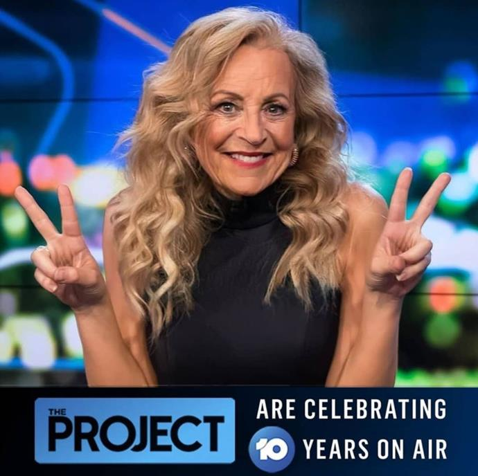 "Carrie what happened?! The team behind her radio show with Tommy Little joked ""Can you believe @bickmorecarrie has been on @theprojecttv for 10 YEARS!!?? She's still killing it 😂😂😂 #faceapp,"" on their Instagram page."
