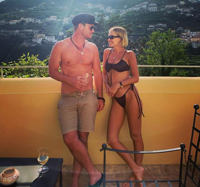 Lara's brother Josh shared this cute snap of the siblings relaxing on their balcony in Italy.