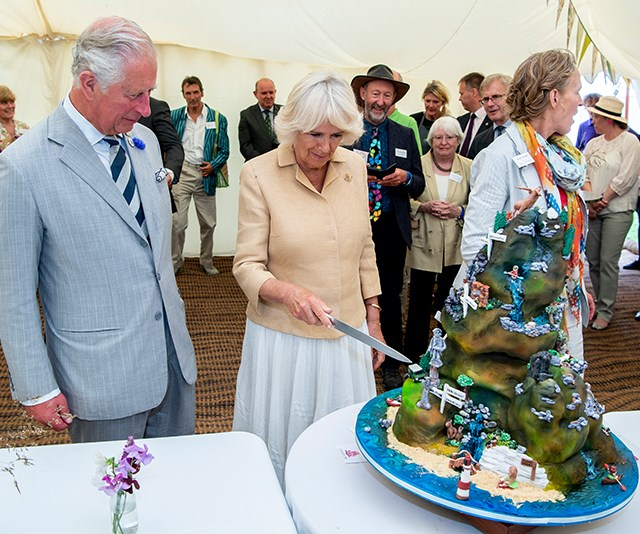 The duchess cuts a cake made to honour the UK's national parks.