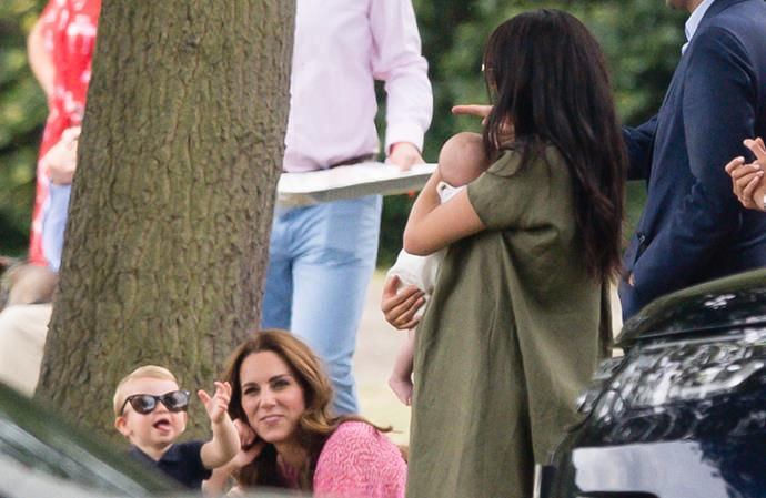 The two royal mums took their children to the polo together in July.