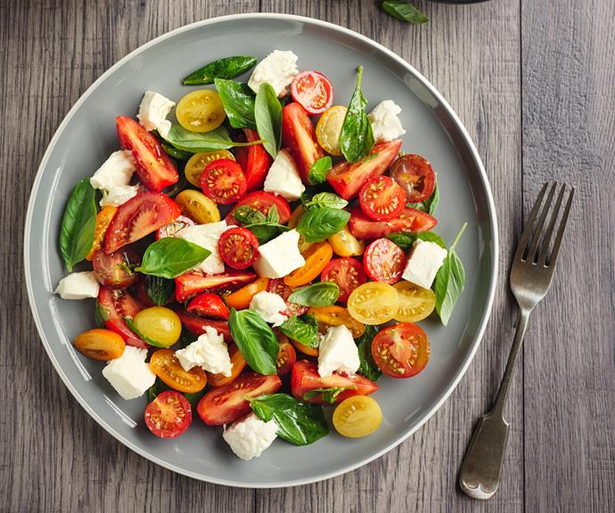 Basil, tomato and mozarella is a classic flavour combo and super quick lunch or dinner meal.