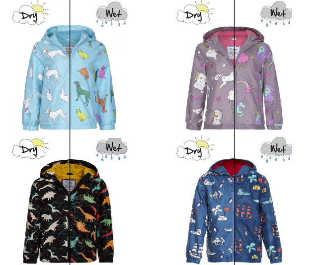 Holly & Beau's colour-chafe raincoats will have your kids begging for it to rain!