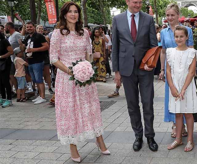 How beautiful is Mary's pink floral dress?