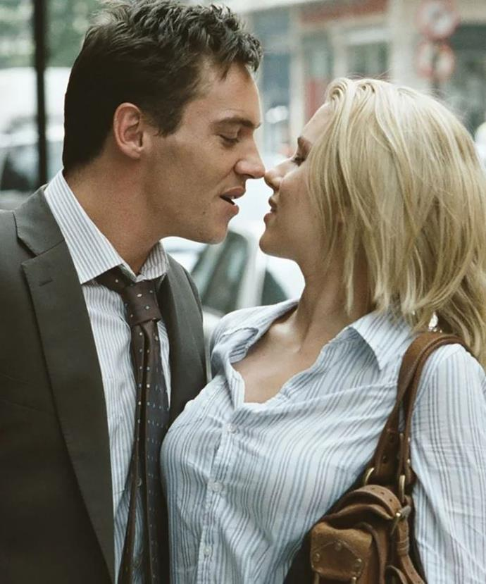 Scarlett Johansson's character has an affair in the movie *Match Point*.