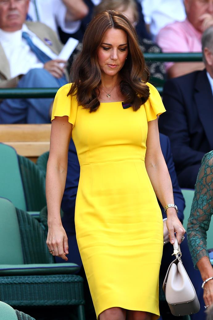 Kate's heavenly yellow creation worn in 2018 was also designed by the Italian fashion house.