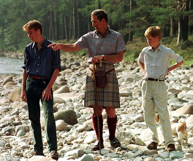 In later years, Prince Charles enjoyed time with his sons beside the same river.