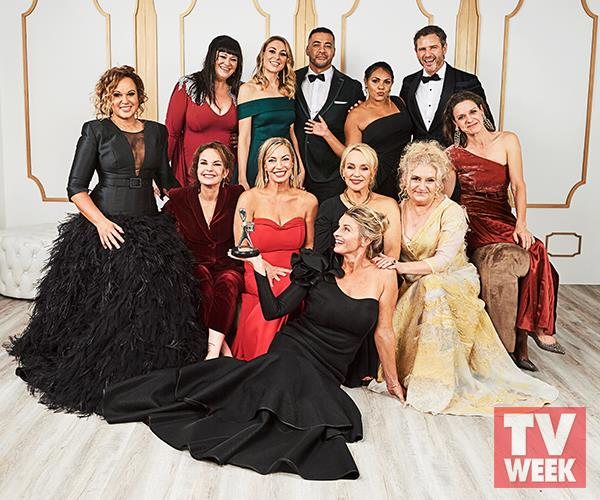 Bernard with the Wentworth cast at the 2019 TV WEEK Logie Awards.