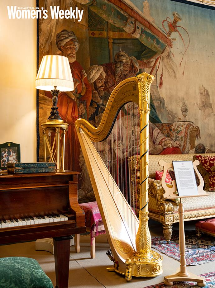 The Prince of Wales' harp was a gift from the Victor Salvi Foundation for use by the royal harpist, a position established by Queen Victoria. The harp's design incorporates The Prince of Wales feathers, and Welsh symbols, including daffodils.