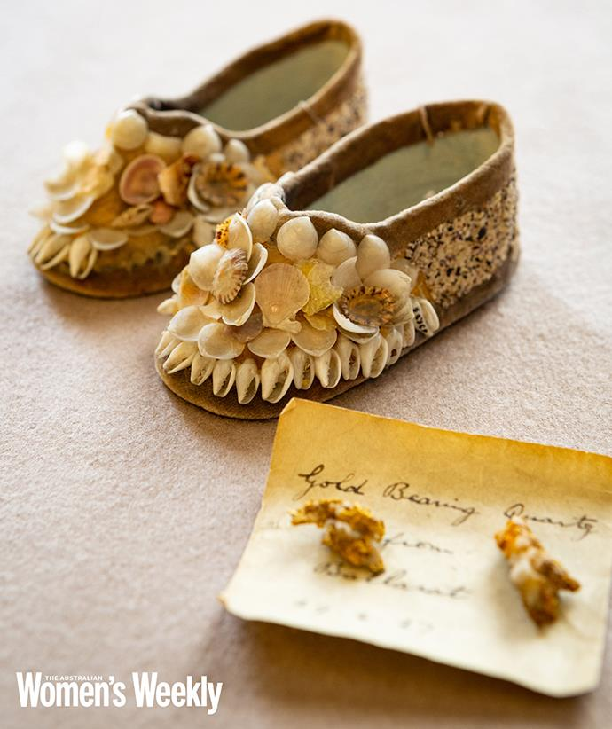 Aboriginal slippers for baby Princess Elizabeth, and gold from Ballarat.