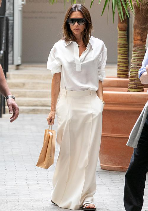 We're into this cream structured maxi skirt. Yes VB!