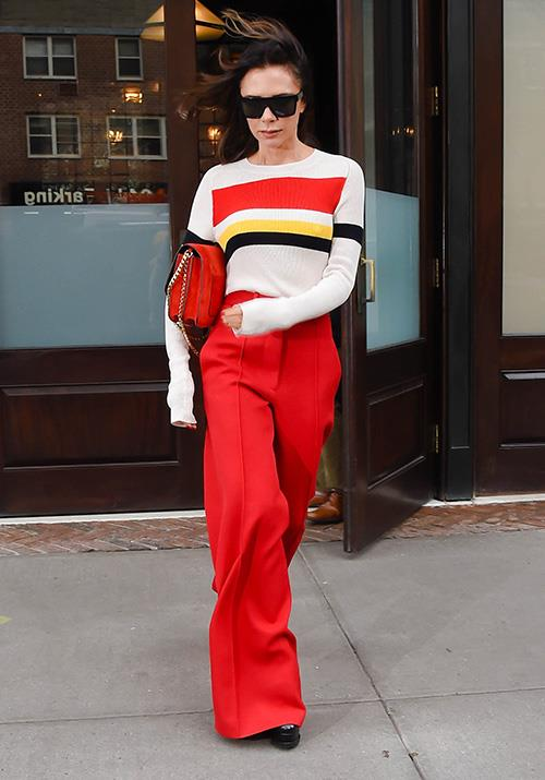 We're going to call it, Victoria owns the world's greatest collection of red pants.