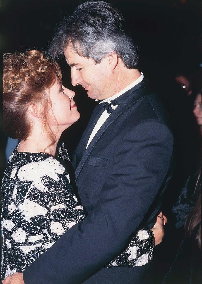 Noni Hazlehurst and John Jarratt pictured during their romance in the 1990s.