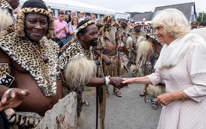 Camilla and Charles met members of the Zulu 'impi' regiment during the event.