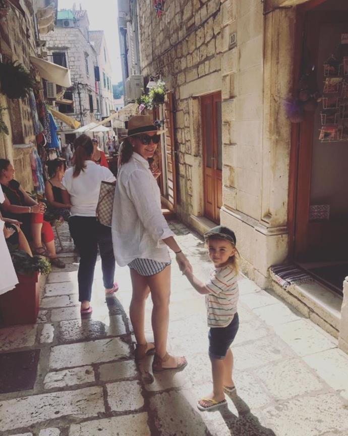 Michelle and Axel nailed the tourist chic look as they wandered through the streets of Croatia.