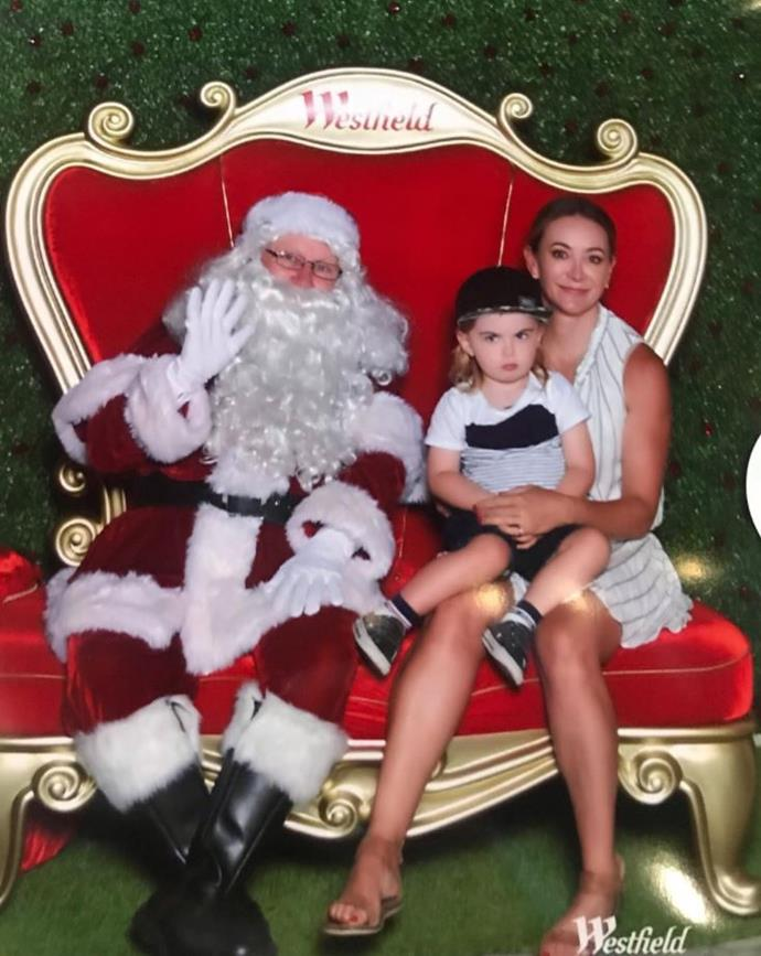 Michelle looked a little happier to be meeting Santa than Axel did.