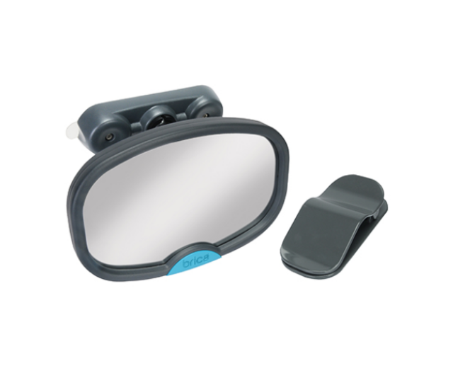 **Brica Stay in Place Mirror:** This small mirror with push lock suction cups is extremely handy when you want to check on your little one while driving. The great thing about them is that they are portable and you can put them anywhere around the house.  A great hack is to pop it in the shower to make sure you get that last bit of eyeliner off so you can avoid looking like a racoon once you hop out!