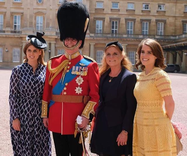 The Yorks posed for a family photo at Prince Andrew's Colonel of the Grenadier Guards duties.