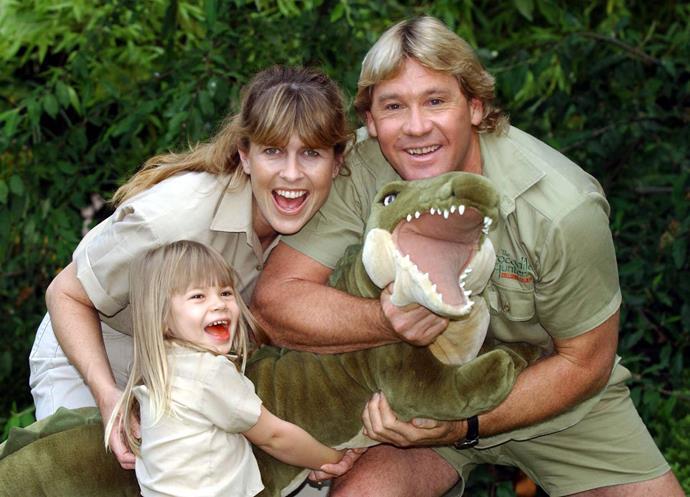 Bindi with her mum Terri and dad, Steve Irwin.