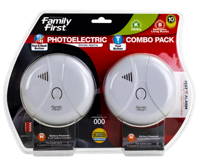"**Smoke detectors:** Being caught in a house fire is one of the most frightening scenarios a family can imagine, but sadly it's a reality that is all too common. To escape a house fire, early warning is vital, which is why every home in Australia needs a smoke alarm. The [Family First Photoelectric Smoke Alarm](https://www.bunnings.com.au/family-first-photoelectric-smoke-alarm-combo-pack-with-test-hush-button_p0094435|target=""_blank""