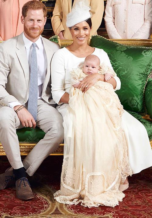 """For the [christening of baby Archie](https://www.nowtolove.com.au/fashion/fashion-news/meghan-markle-kate-middleton-christening-outfits-56901 target=""""_blank""""), Meghan opted for a stunning white Dior gown. The fit was beautiful on the new mum, with its modest round neck and three-quarter sleeves being the perfect choice for a royal christening."""