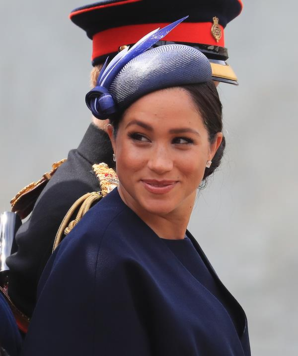 """Attending this year's [Trooping the Colour parade](https://www.nowtolove.com.au/royals/british-royal-family/trooping-the-colour-2019-56294 target=""""_blank"""") on June 8, the Duchess made her first appearance since the first official photo call with baby Archie wearing this navy blue ensemble by her wedding dress designer Clare Waight Keller for Givenchy."""