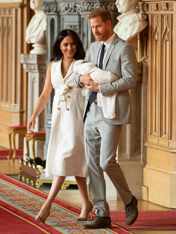 Meghan paired the dress with her go-to Manolo Blahnik pumps, the perfect addition to compliment her radiant new-mum glow.