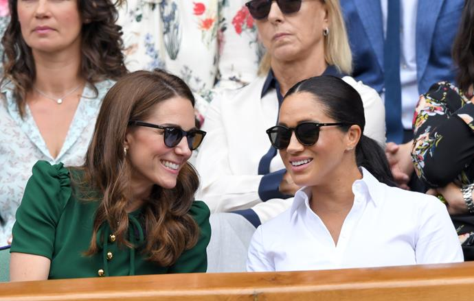 What feud? The two royal sisters-in-law looked happy as Larry at the Wimbledon wiomen's singles final.
