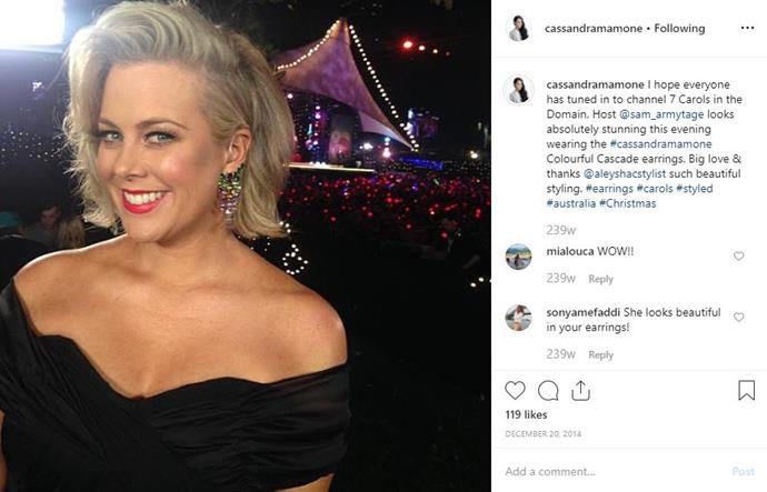 Sam Armytage is also among the stars who've worn a Cassandra Mamone piece.