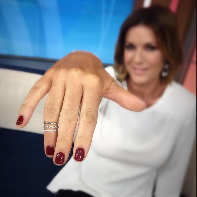Television presenter Kylie Gillies wore a beautiful set of Cassandra's midi-rings on-air.