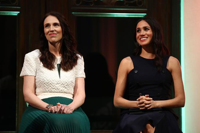 Kiwi PM Jacinda Ardern is one of 15 women to feature on the cover of Meghan's *Vogue* editorial debut.