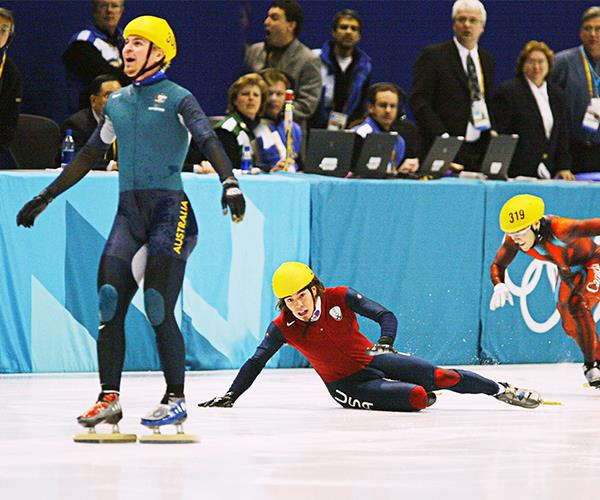 Steven won a surprise gold at the 2002 Winter Olympics.