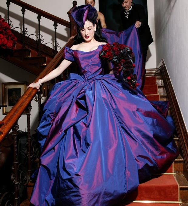 **Dita Von Teese** <br><br> The gorgeous burlesque dancer has never been one to do things by the book, and her 2005 wedding to ex-husband Marilyn Manson was no different.  <br><br>Dita wore this stunning purple Vivienne Westwood dress and matching hat by milliner Philip Treacy at their wedding in an Irish castle.  <br><br>But the relationship was short-lived. The couple were married for just over a year, before they split in 2006.
