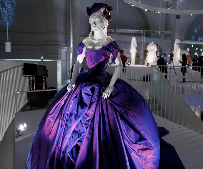 "Dita's Vivienne Westwood dress on display at the ""Wedding Dresses 1775-2014"" exhibit at the Victoria & Albert Museum in London in 2014."