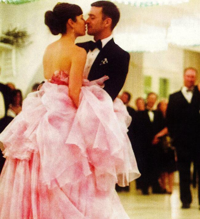 **Jessica Biel** <br><br> The gorgeous actress married singer Justin Timberlake in 2012, and this stunning frothy pink Giambattista Valli wedding dress served as the perfect accompaniment to the Italian location.