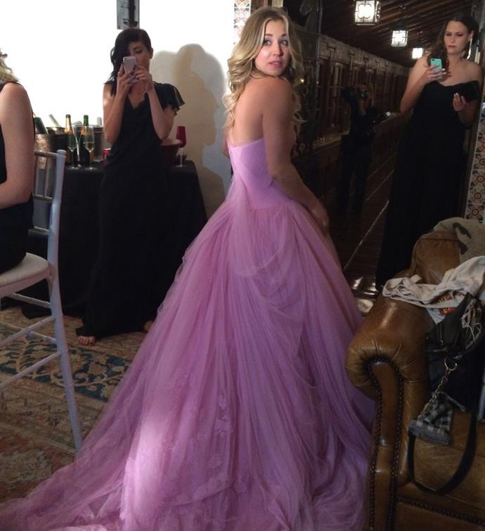**Kaley Cuoco** <br><br> *The Big Bang Theory* star Kaley Cuoco wore this incredible pink Vera Wang gown to her 2018 wedding to equestrian Karl Cook. She looks absolutely stunning!