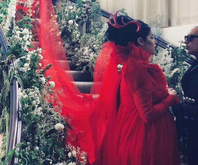 **Kat Von D** <br><br> Makeup mogul and tattoo artist Kat Von D wore this extra AF red gown when she married her husband Rafael Reyes in February last year, complete with a red headdress and a giant red tulle veil.