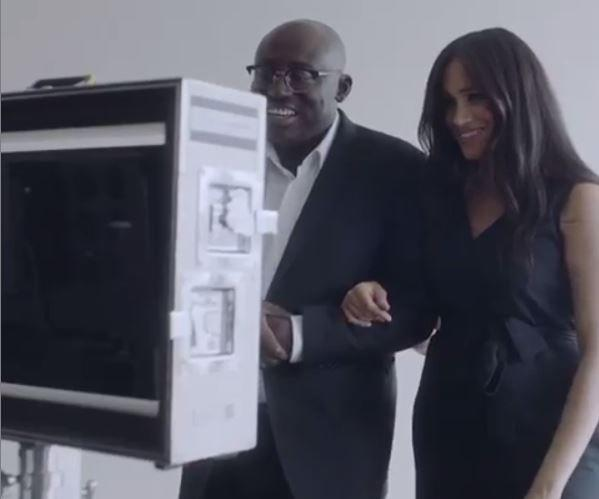 Meghan is seen with Edward Enninful in a short trailer clip released to promote the magazine before it officially hits stands.