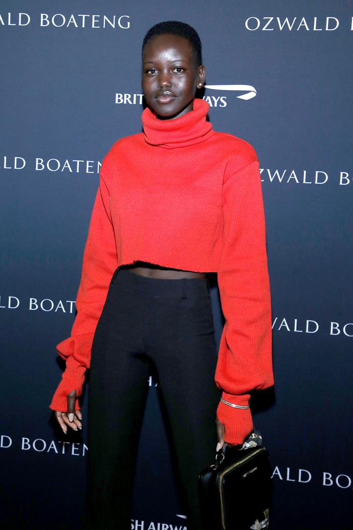 "**Adut Akech** <br><br> A 19-year-old model from South Sudan, Adut was raised in Kenya before relocating to South Australia. <br><br> She has since modelled for some of the world's biggest brands, including Calvin Klein, Burberry and even Duchess Meghan's favourite, Givenchy. <br><br>  Speaking to the *Daily Telegraph* about the moment she found out Meghan had chosen her to feature in *Vogue*, she said: ""I couldn't believe that she was calling me an inspiration."""