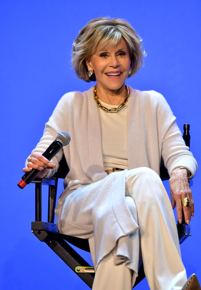 "**Jane Fonda** <br><br> As a screen legend, we'd be surprised if you *hadn't* heard of this stunning 81-year-old.  <br><br> What you might not be as familiar with however, is her [dedication and passion](https://www.nowtolove.com.au/celebrity/celeb-news/jane-fonda-helen-mirren-present-gary-oldman-best-actor-oscar-45512|target=""_blank"") for political and social causes.  <br><br> An outspoken advocate for the Me Too movement, which fights against sexual harassment in the workplace, Fonda is a strong and independent role model many women continue to be inspired by."