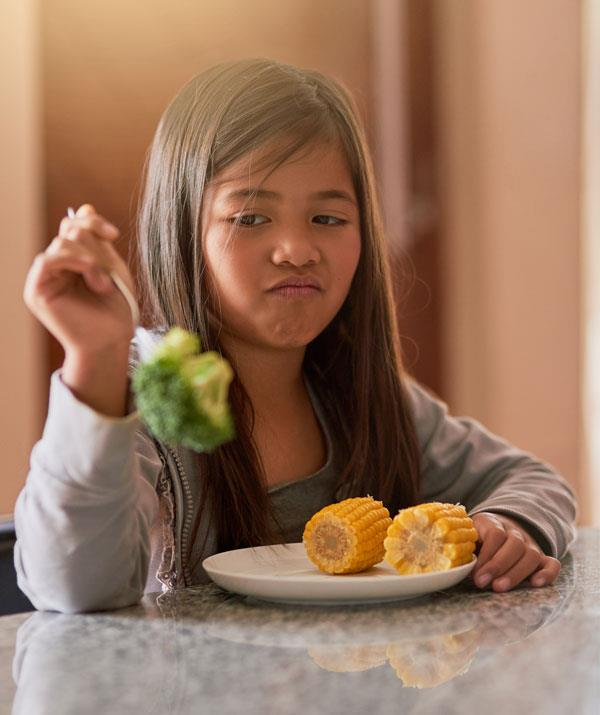 Try pairing a new food with a food your child already likes.