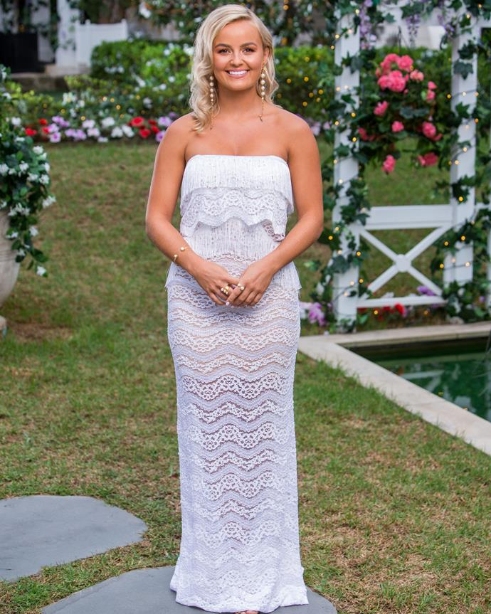 Elly looked stunning on episode one in this pretty white frock.