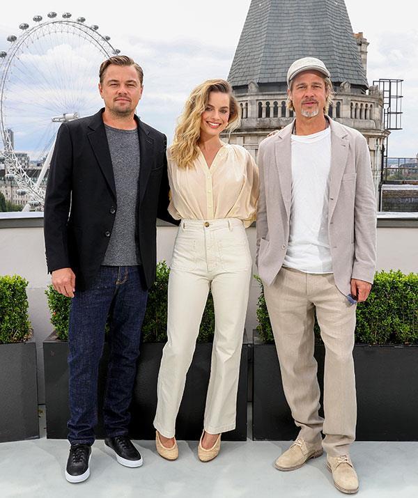 "Leonardo di Caprio, Margot Robbie and Brad Pitt at the film's photocall in London recently. Debra describes Margot as ""perfect as Sharon""."