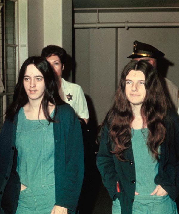 Manson Family cult members Susan Atkins and Patricia Krenwinkel attend court in 1970. The two were convicted of participating in the 1969 bloodbath.