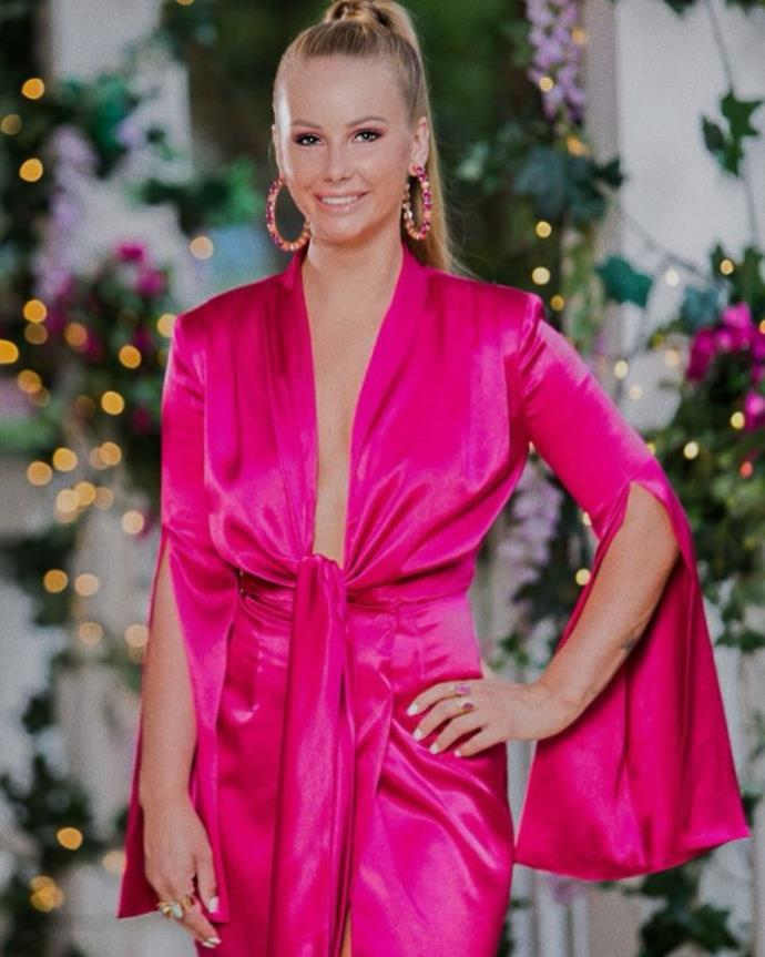 Holy brightness, Batman! Rachael was pretty in pink in this Bronx and Banco dress with killer House of Emmanuele jewellery.