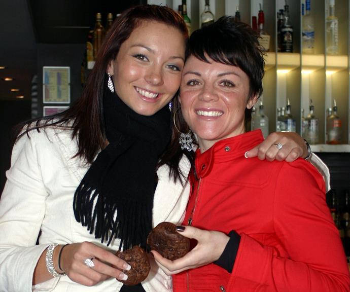 Ricki-Lee and fellow *Australian Idol* contestant Em Rusciano at Sydney's Cargo Bar in 2004.