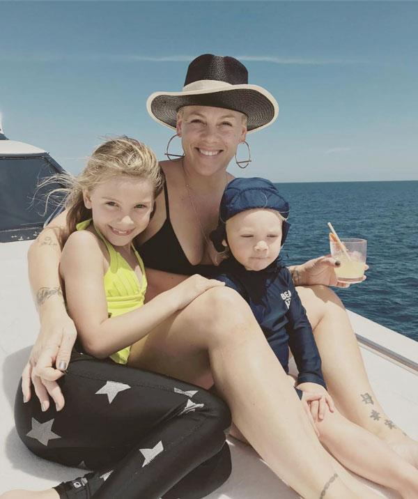 Pink with her kids, Willow, 8 and Jameson, 2.