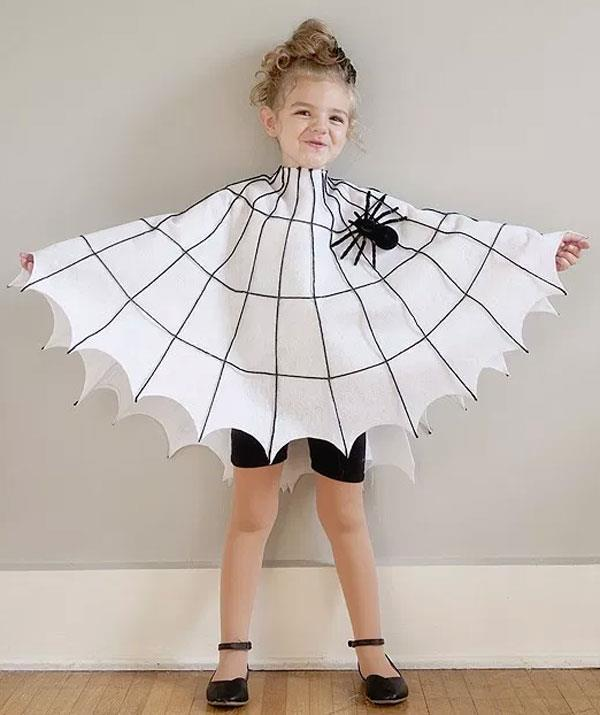 **Charlotte's Web**  Recreate this look for your little *Charlotte's Web* fan with a white circular tablecloth. Cut a hole in the centre for your child's head. Then using black yarn, or a black texta create the web. Finish the web by securing a plastic black spider.