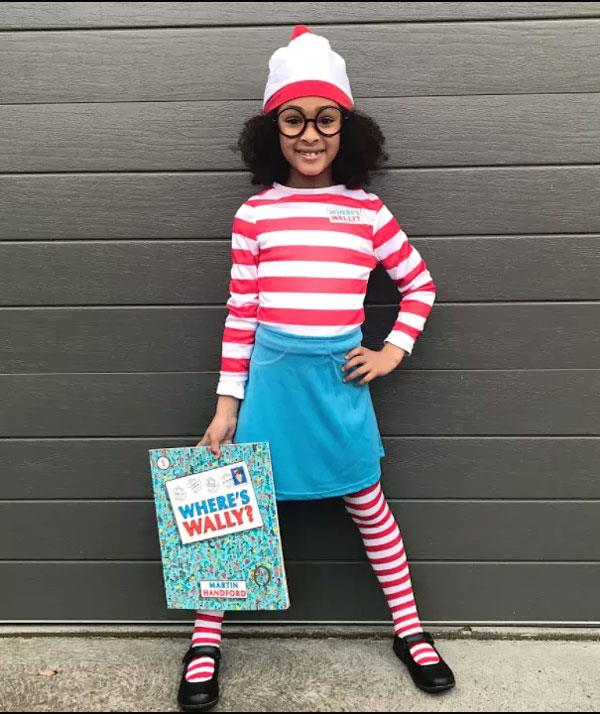 **Where's Wally**  If your child doesn't already own a red and white stripe tee, you could paint red stripes. Then add a blue skirt or a pair of jeans on the bottom half. Your bargain store should have black round glasses. Finish the look with a red and white beanie.