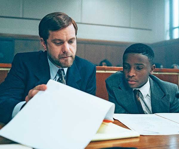 Mickey Joseph (Joshua Jackson) defends Antron (Caleel Harris).