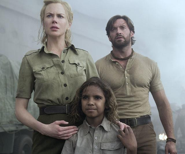 Lady Sarah Ashley (Nicole Kidman), The Drover (Hugh Jackman) and Nullah (Brandon) fight to save the cattle station.